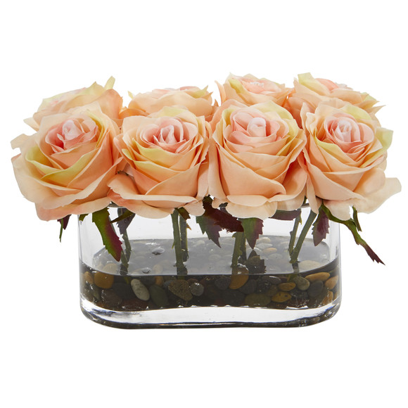 5.5 Blooming Roses in Glass Vase Artificial Arrangement - SKU #1520 - 4