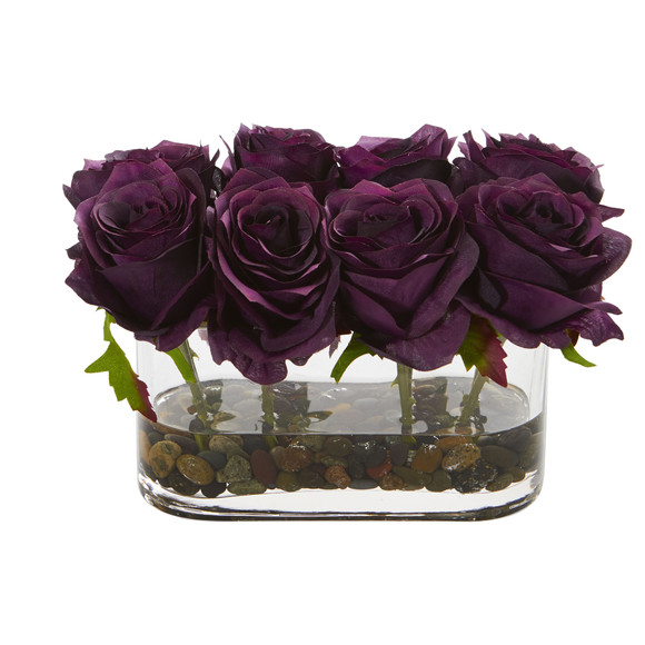 5.5 Blooming Roses in Glass Vase Artificial Arrangement - SKU #1520 - 6