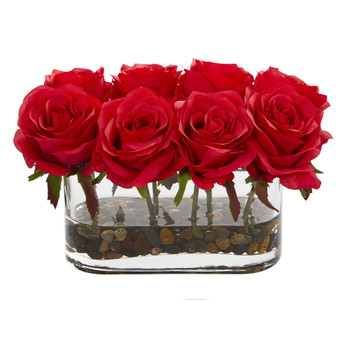 5.5 Blooming Roses in Glass Vase Artificial Arrangement - SKU #1520