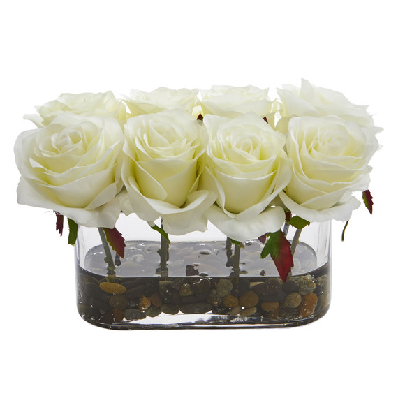 5.5 Blooming Roses in Glass Vase Artificial Arrangement - SKU #1520 - 2