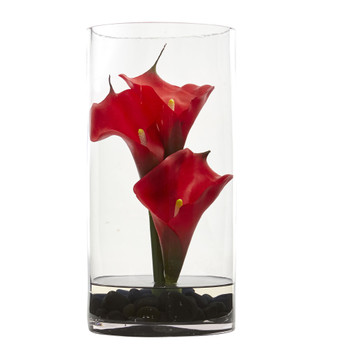 12 Calla Lily Artificial Arrangement in Cylinder Glass - SKU #1521