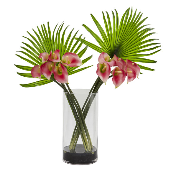 Calla Lily and Fan Palm Artificial Arrangement in Cylinder Glass - SKU #1524 - 1