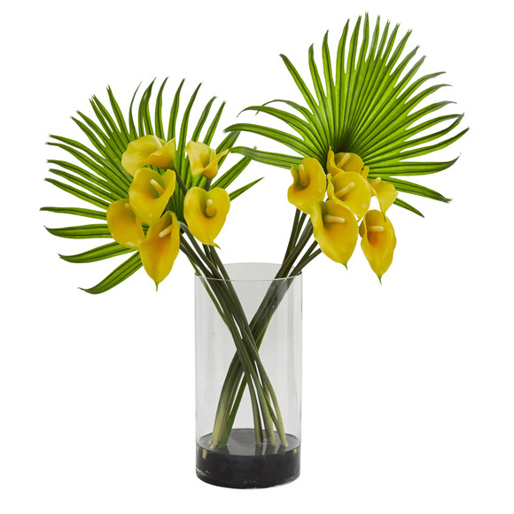 Calla Lily and Fan Palm Artificial Arrangement in Cylinder Glass - SKU #1524 - 2