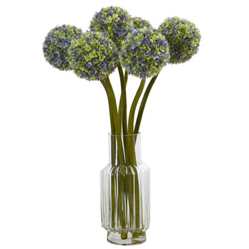 Ball Flower Artificial Arrangement in Vase - SKU #1529