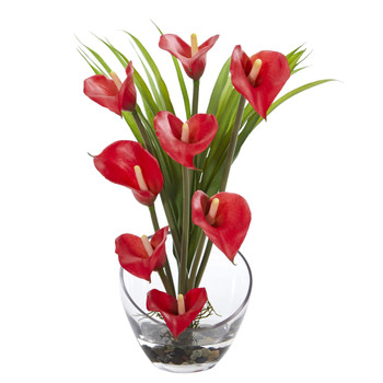 15.5 Calla Lily and Grass Artificial Arrangement in Vase - SKU #1530