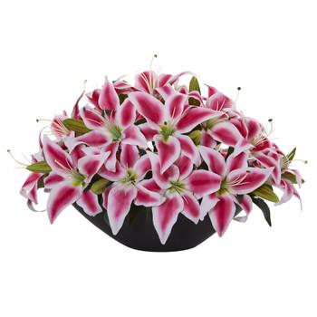 Lily Centerpiece Artificial Floral Arrangement - SKU #1531-BU