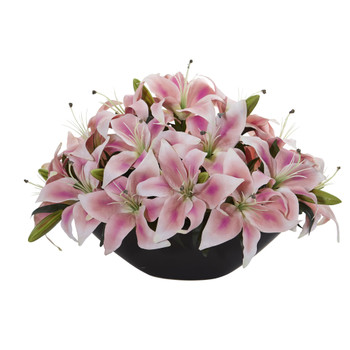 Lily Centerpiece Artificial Floral Arrangement - SKU #1531-PK