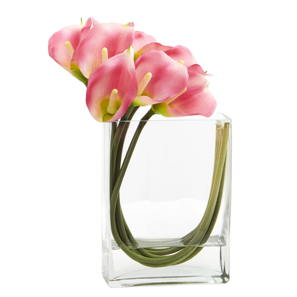 12 Calla Lily in Rectangular Glass Vase Artificial Arrangement - SKU #1533 - 1