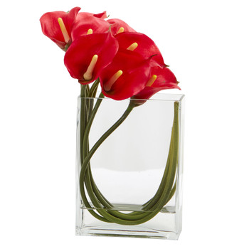 12 Calla Lily in Rectangular Glass Vase Artificial Arrangement - SKU #1533