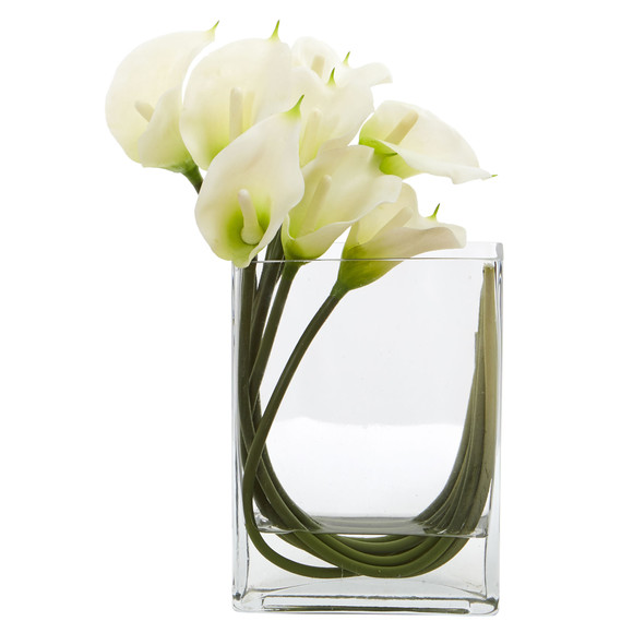 12 Calla Lily in Rectangular Glass Vase Artificial Arrangement - SKU #1533 - 2