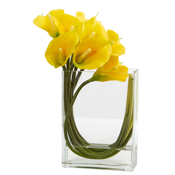 12 Calla Lily in Rectangular Glass Vase Artificial Arrangement - SKU #1533 - 3