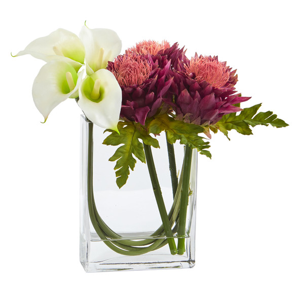 12 Calla Lily and Artichoke in Rectangular Glass Vase Artificial Arrangement - SKU #1534 - 3