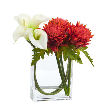 12 Calla Lily and Artichoke in Rectangular Glass Vase Artificial Arrangement - SKU #1534-WO