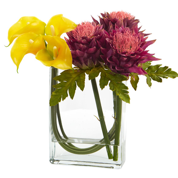 12 Calla Lily and Artichoke in Rectangular Glass Vase Artificial Arrangement - SKU #1534 - 1