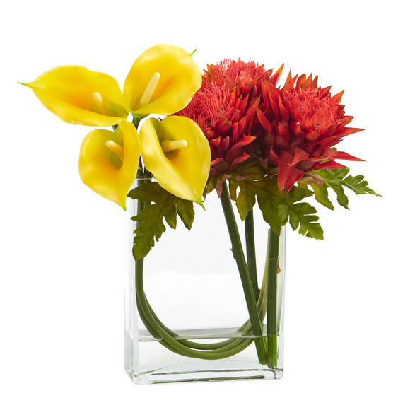 12 Calla Lily and Artichoke in Rectangular Glass Vase Artificial Arrangement - SKU #1534 - 2