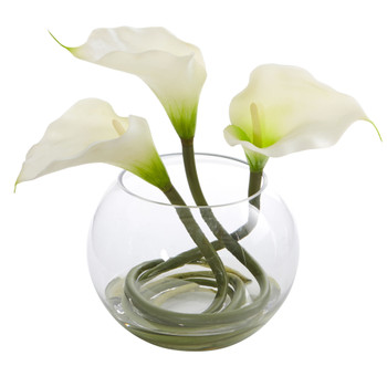 9 Calla Lily Artificial Arrangement in Rounded Glass Vase - SKU #1536