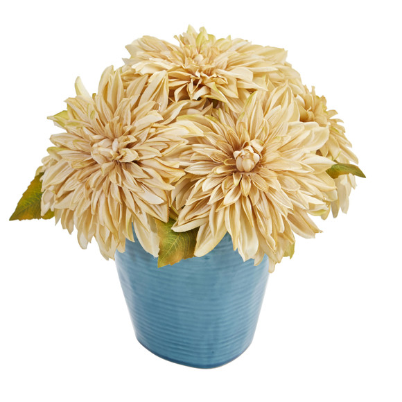 11 Dahlia Artificial Arrangement in Blue Ceramic Vase - SKU #1538 - 1
