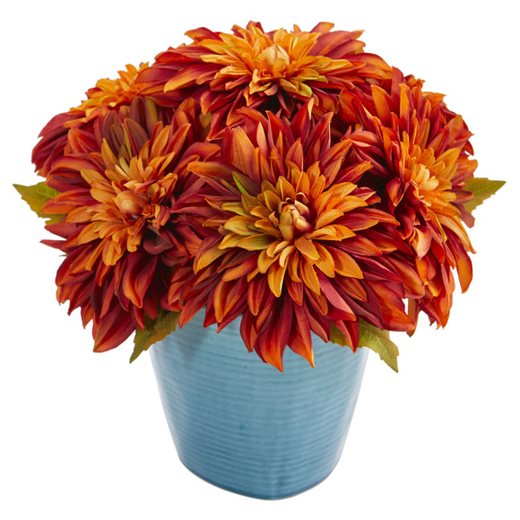 11 Dahlia Artificial Arrangement in Blue Ceramic Vase - SKU #1538 - 2