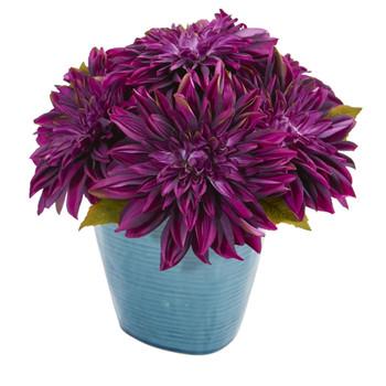 11 Dahlia Artificial Arrangement in Blue Ceramic Vase - SKU #1538