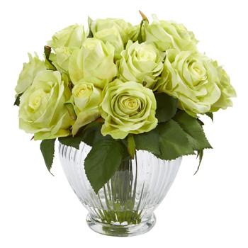 9 Rose Artificial Floral Arrangement in Elegant Glass Vase - SKU #1539-GR