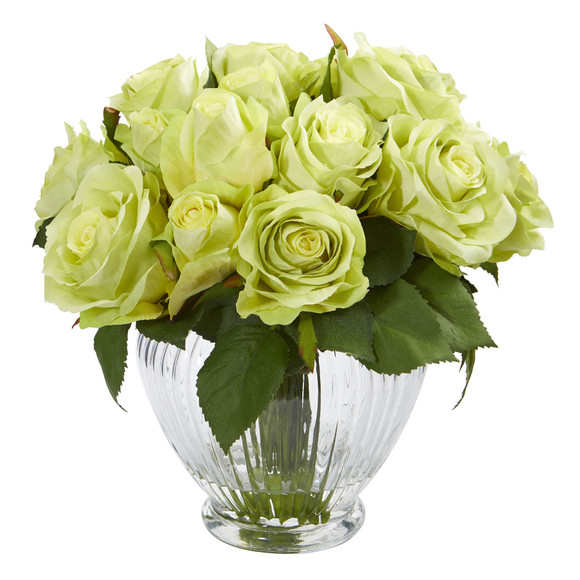 9 Rose Artificial Floral Arrangement in Elegant Glass Vase - SKU #1539 - 2