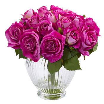 9 Rose Artificial Floral Arrangement in Elegant Glass Vase - SKU #1539