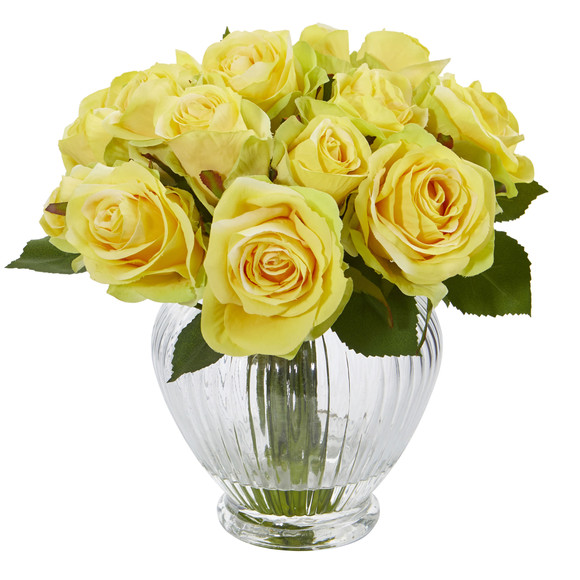 9 Rose Artificial Floral Arrangement in Elegant Glass Vase - SKU #1539 - 1