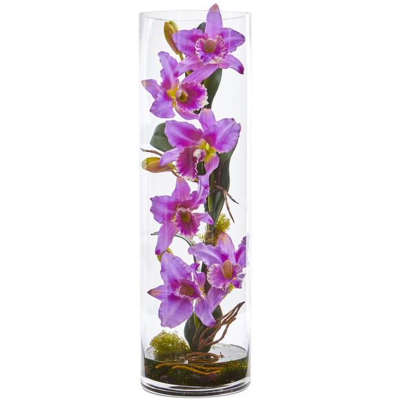 20 Cattleya Orchid Artificial Floral Arrangement in Cylinder Vase - SKU #1540