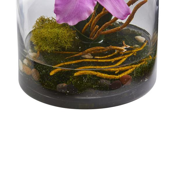 20 Cattleya Orchid Artificial Floral Arrangement in Cylinder Vase - SKU #1540 - 1