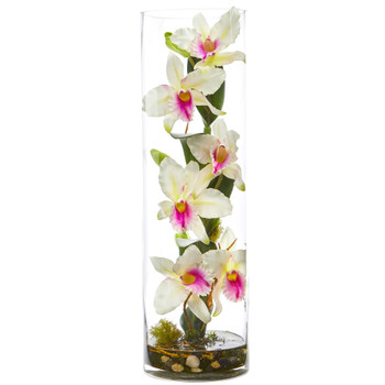 20 Cattleya Orchid Artificial Floral Arrangement in Cylinder Vase - SKU #1540-WH