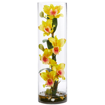 20 Cattleya Orchid Artificial Floral Arrangement in Cylinder Vase - SKU #1540-YL