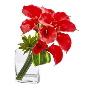 20 Calla Lily Succulent Bouquet Artificial Arrangement - SKU #1541