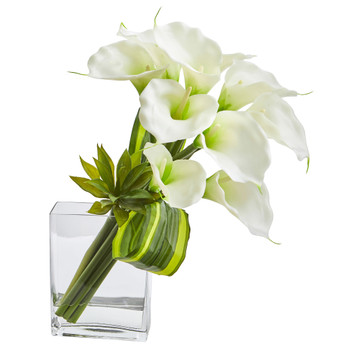 20 Calla Lily Succulent Bouquet Artificial Arrangement - SKU #1541