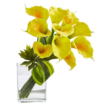 20 Calla Lily Succulent Bouquet Artificial Arrangement - SKU #1541-YL
