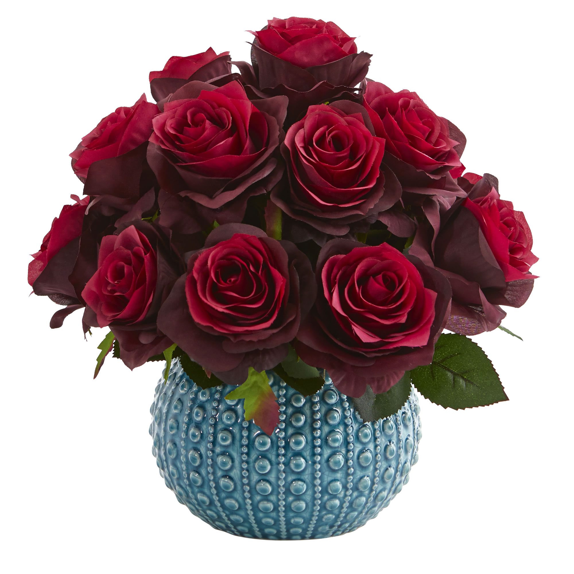 Artificial 115 Roses Flowers Bouquet Arrangement In Blue Round