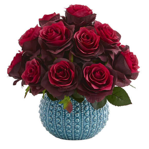 11.5 Rose Artificial Arrangement in Blue Ceramic Vase - SKU #1542 - 3