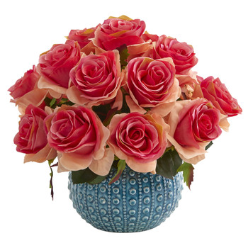 11.5 Rose Artificial Arrangement in Blue Ceramic Vase - SKU #1542