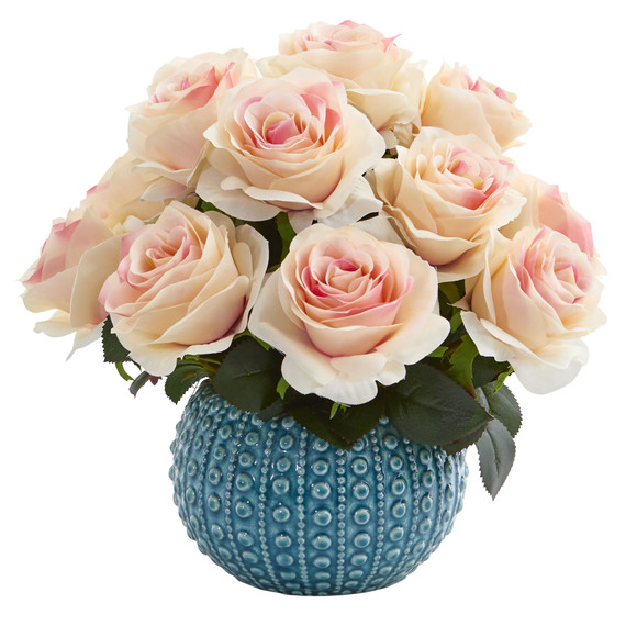 11.5 Rose Artificial Arrangement in Blue Ceramic Vase - SKU #1542 - 5