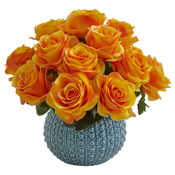 11.5 Rose Artificial Arrangement in Blue Ceramic Vase - SKU #1542 - 6