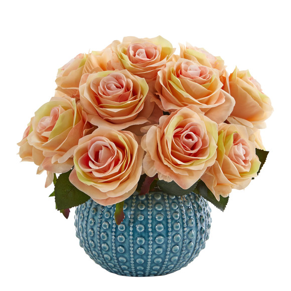 11.5 Rose Artificial Arrangement in Blue Ceramic Vase - SKU #1542 - 4