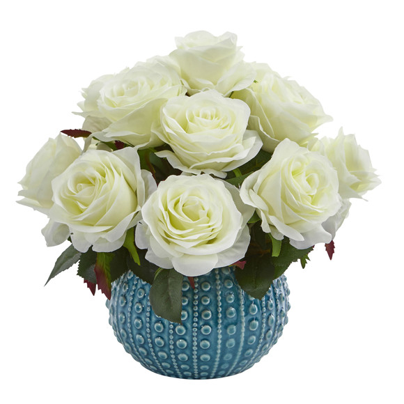 11.5 Rose Artificial Arrangement in Blue Ceramic Vase - SKU #1542 - 1