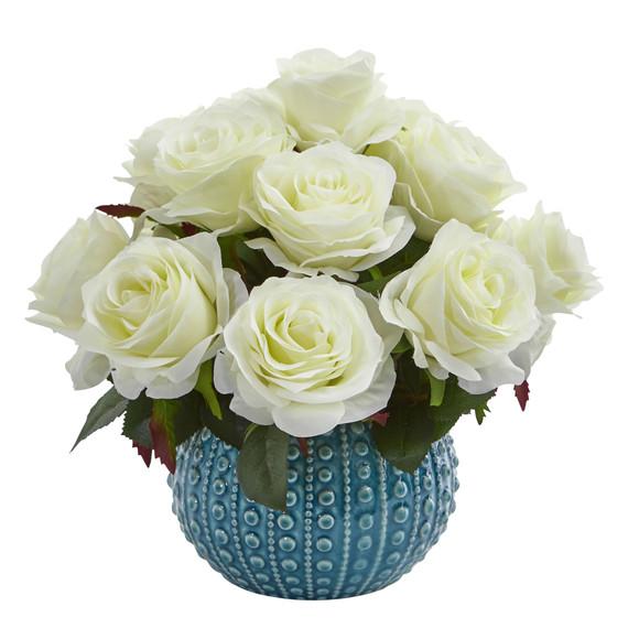 11.5 Rose Artificial Arrangement in Blue Ceramic Vase - SKU #1542