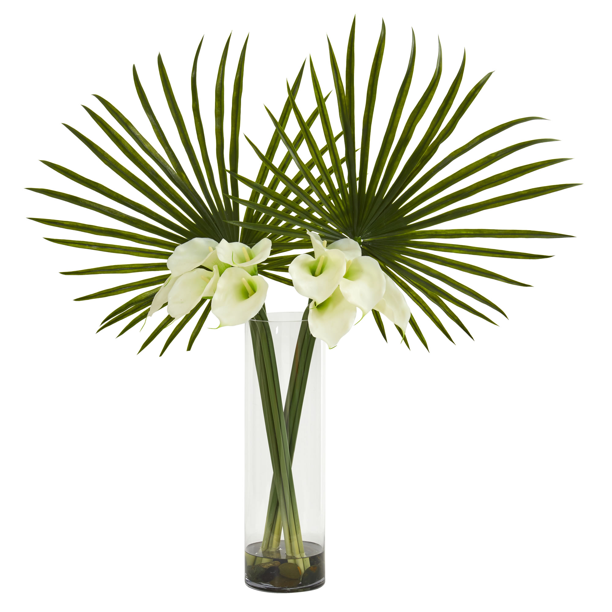 Artificial 41 fan palm calla lily flower arrangement in faux image is loading artificial 41 034 fan palm amp calla lily izmirmasajfo