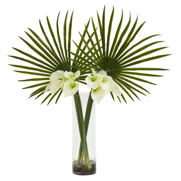 Fan Palm and Calla Lily Artificial Arrangement - SKU #1543 - 3