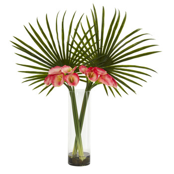 Fan Palm and Calla Lily Artificial Arrangement - SKU #1543-PK