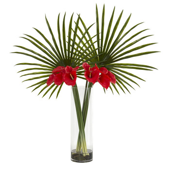Fan Palm and Calla Lily Artificial Arrangement - SKU #1543