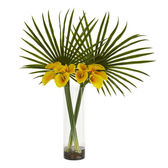 Fan Palm and Calla Lily Artificial Arrangement - SKU #1543 - 1