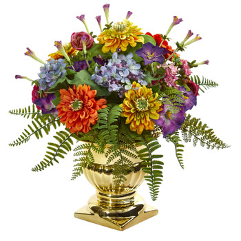 14 Mixed Floral Artificial Arrangement in Gold Urn - SKU #1547
