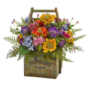 Mixed Floral Artificial Arrangement in Wood Basket - SKU #1548