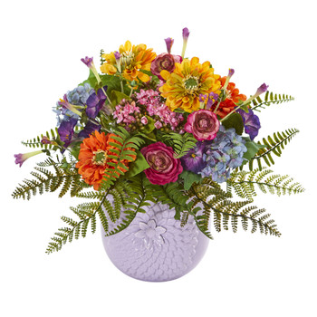 Mixed Floral Artificial Arrangement in Purple Vase - SKU #1549
